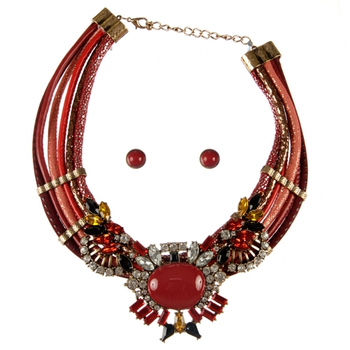 Wholesale L36E Stones and fabrics necklace set RGRD