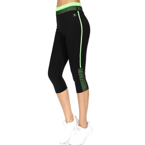 Wholesale WA00 Mesh and solid capri pants N.Green