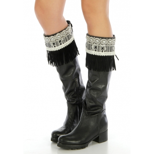 Wholesale Q04 Tribal faux suede boot cuff Black