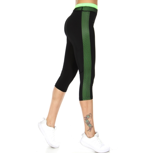 Wholesale WA00 Meshed neon sides capri pants N.Green