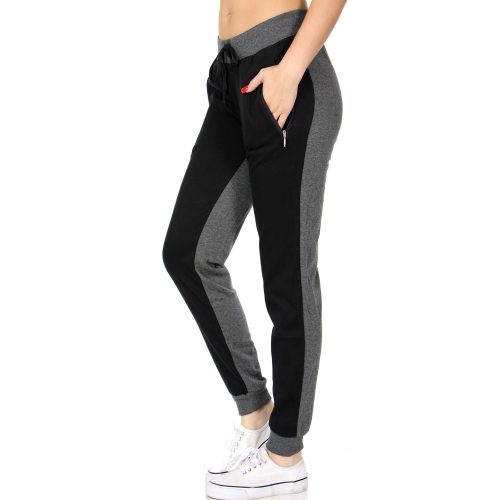 Wholesale L11 Two tone fleece lined jogger pants BK