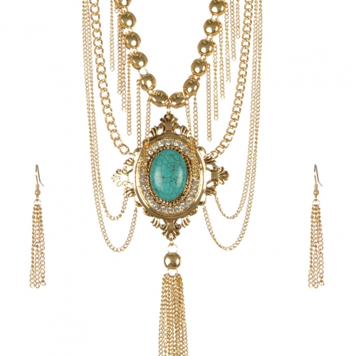 Wholesale L29A TQ accent metal tassel necklace set GTQ