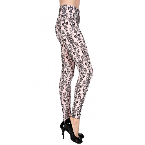 Wholesale E43 Nouveau velour flocked leggings Black