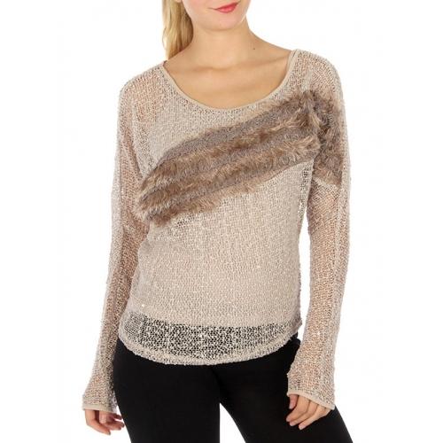 Wholesale T21 Faux fur trim open knit sweater Beige
