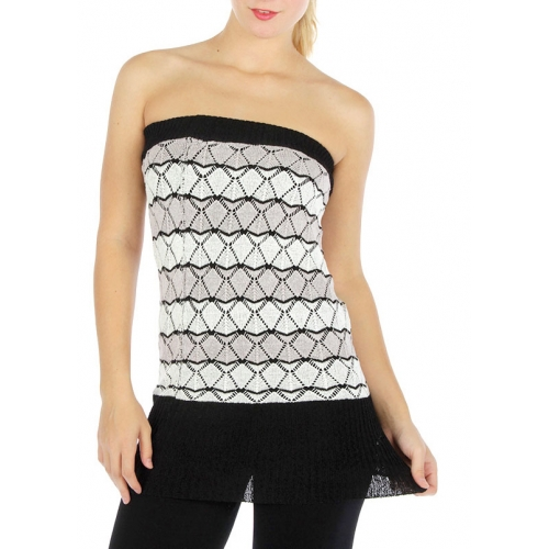 Wholesale T19 Striped knit tube top Purple/White