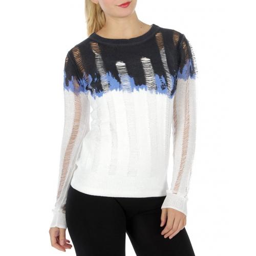 Wholesale S68 Shredded knit sweater Blue fashionunic