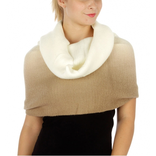 Wholesale P10 Two tone knit neckwarmer Beige/Ivory