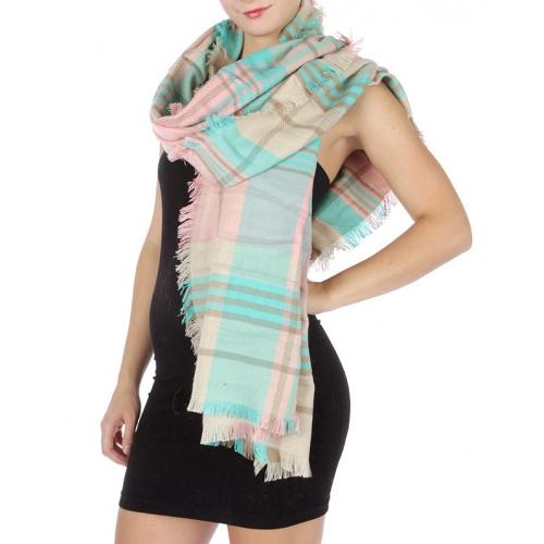 Wholesale S33 Wide plaid unfinished hem scarf Pink