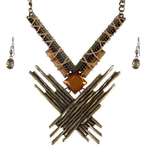Wholesale L37E Stone bar wrapped necklace set GB