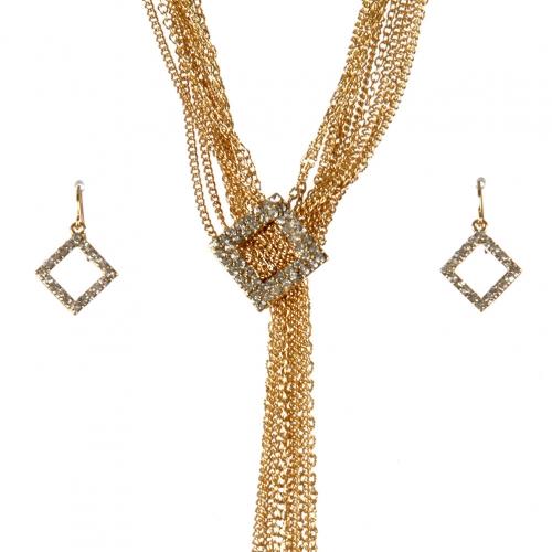 Wholesale L22E Studded multi chain necklace set G