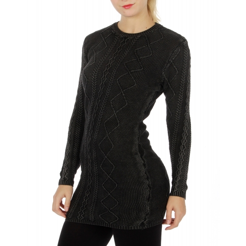 Wholesale O04 Long sleeve sweater dress Black
