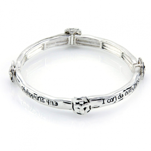 Wholesale M10E Philippians 4:13 metal bracelet AS