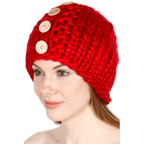 Wholesale Q82 Hand made solid button knit hat Red