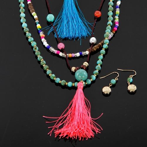 Wholesale M12C Multicolored beaded tassel necklace set GMT1