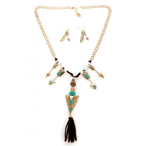 Wholesale M12C Tasseled metal arrow necklace set WTTQ1