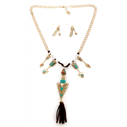 Wholesale M12C Tasseled metal arrow necklace set WTTQ1
