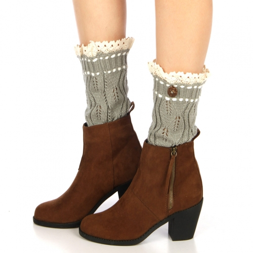 Wholesale T33 Lace top leaves knit short leg warmers Grey