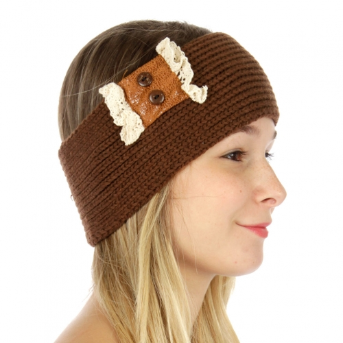 Wholesale T33 Faux leather buttoned knit headband Brown