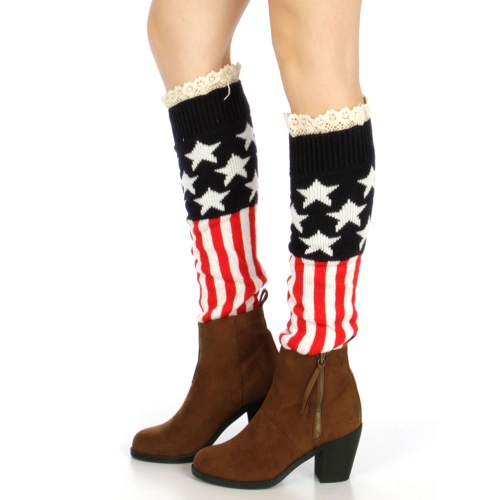 Wholesale T31 USA flag lace top knit leg warmers
