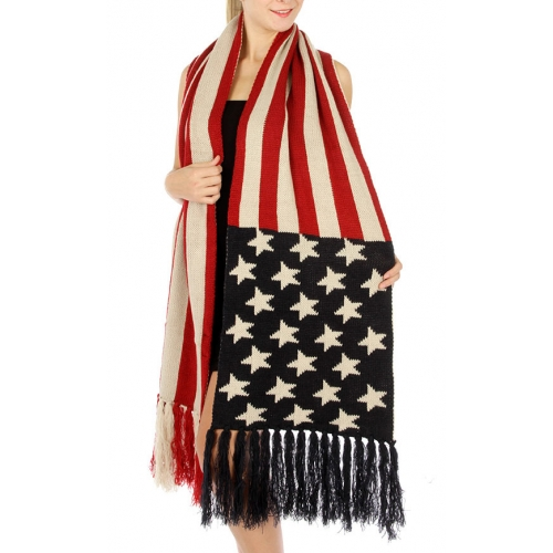 Wholesale T11 Oblong usa knit scarf Red/Blue fashionunic