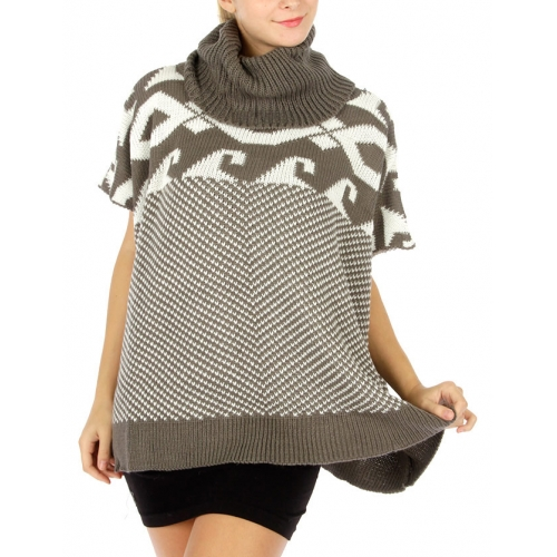 Wholesale T15 Ribbed turtleneck abstract top Grey