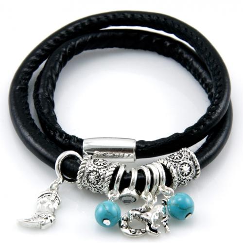 Wholesale M14A Cowboy charms faux leather bracelet ASJ