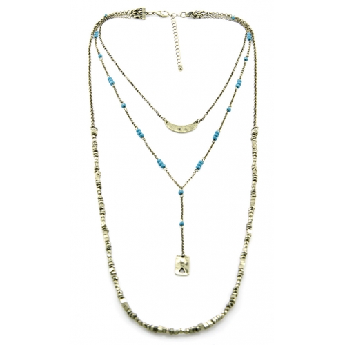 Wholesale M12D Three tier bead and metal necklace GB