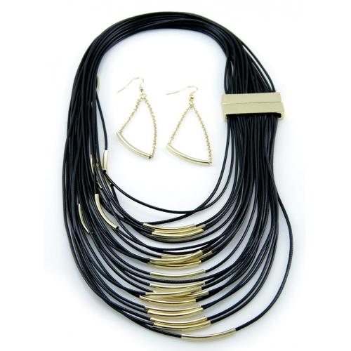 Wholesale M12D Multi faux leather strand necklace set GDBK
