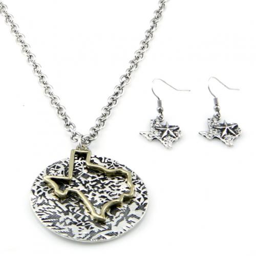 Wholesale M12E Metal Texas cutout necklace set OGSB
