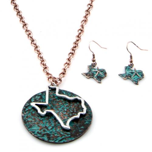 Wholesale M12E Metal Texas cutout necklace set SBGB