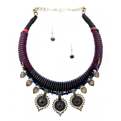 Wholesale M14C Stone drop choker necklace set RGBL