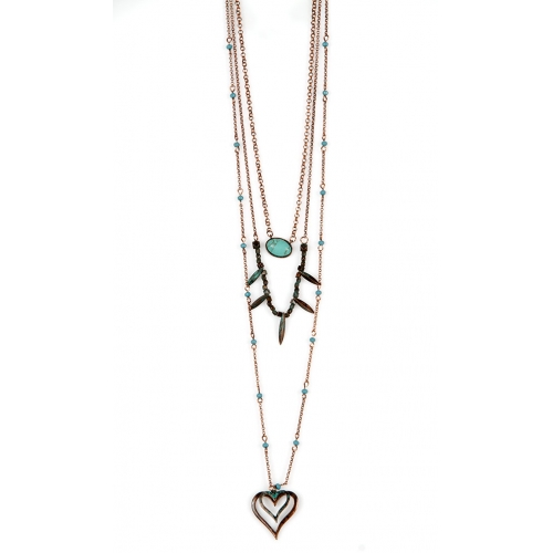 Wholesale M12D TQ beads heart drop necklace OG