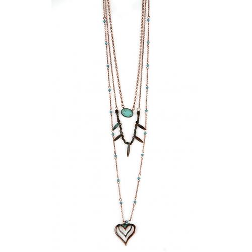 Wholesale M12D TQ beads heart drop necklace OG