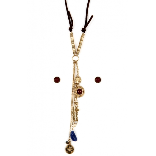 Wholesale L22E Dangling charms on faux suede necklace set AWGBU