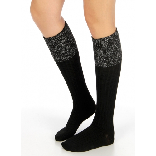 Wholesale S60 Metallic foldover cotton knee high socks Black