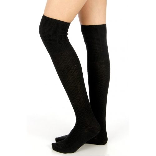 Wholesale S60 Solid over the knee cotton socks Black