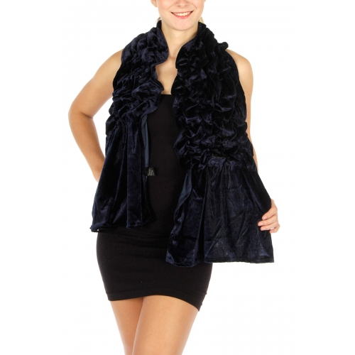 Wholesale T79 Rouched solid velvet stretch scarf Black