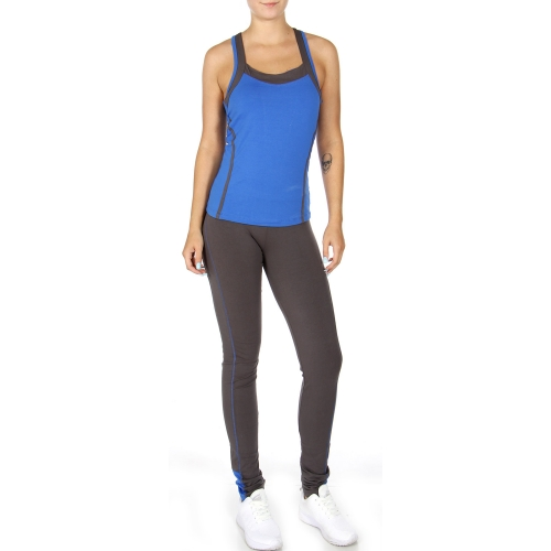 Wholesale N47 Two tone Cotton active tank pants set Blue
