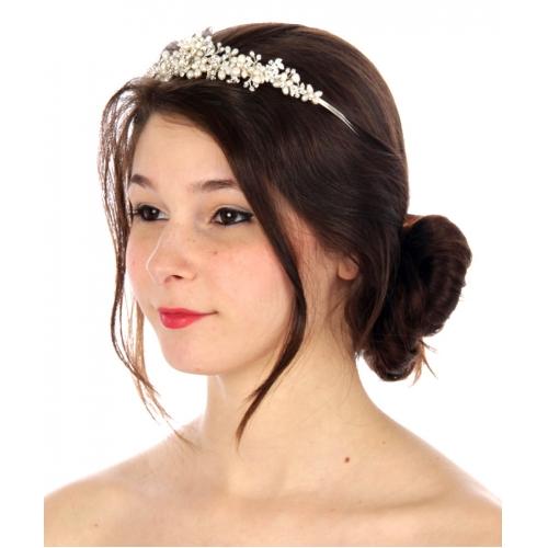 wholesale N35 Floral pearl tiara Silver fashionunic