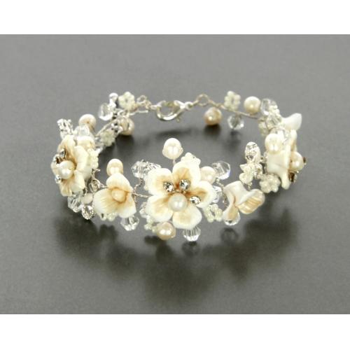 Wholesale N35 White casting flower bracelet Silver