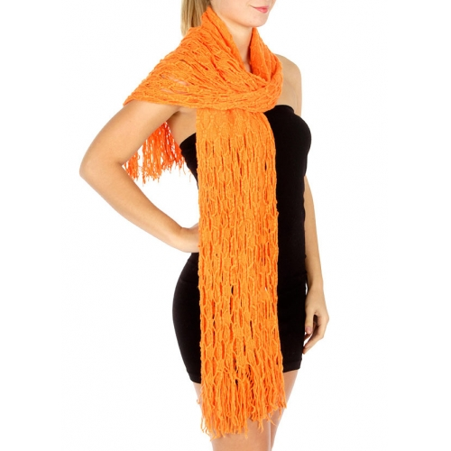 Wholesale R79 Fishnet honeycomb infinity scarf Orange