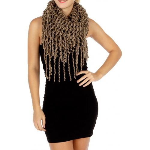 Wholesale R79 Fishnet wave infinity scarf Khaki