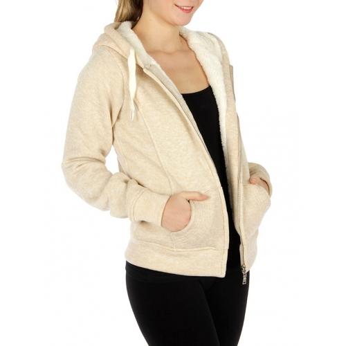 Wholesale T75BX90 Faux fur lined zipper hoodie Beige