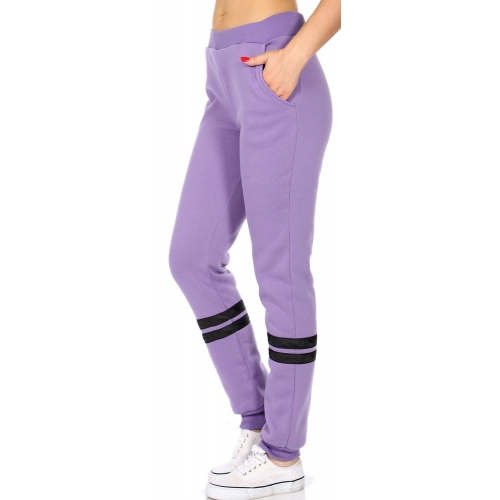 Wholesale Q84 Striped fleece lined track pants Honeysuckle