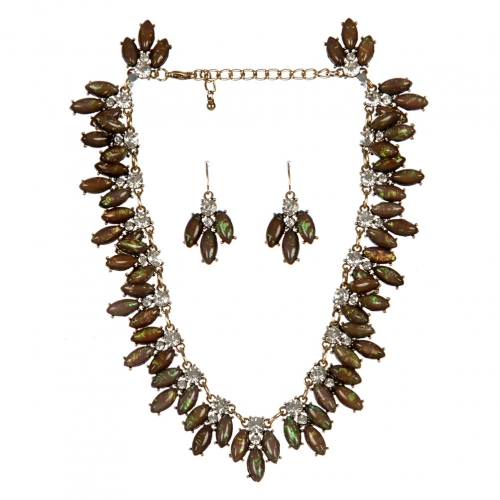 Wholesale N36E Pearly oval stone necklace set CLEAR