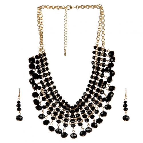 Wholesale N36E Solid beads necklace set BLACK fashionUnic