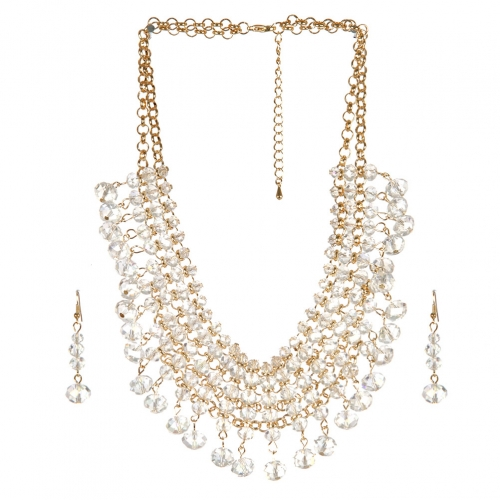 Wholesale N36E Solid beads necklace set CLEAR AB