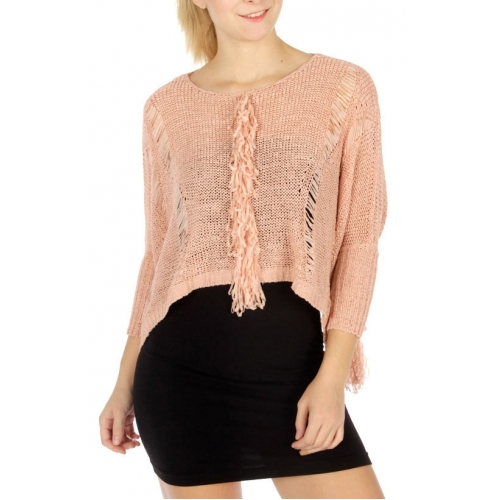Wholesale T71 Fringed front cropped knit top Dusty Pink