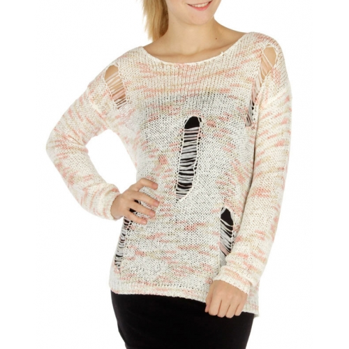 Wholesale T23 Multicolored shredded sweater Pink