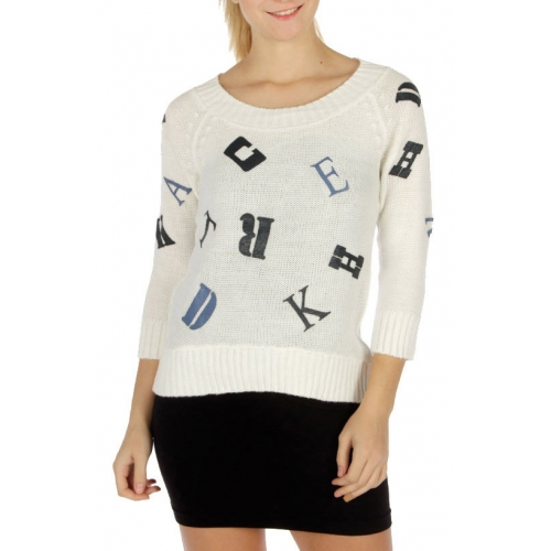 Wholesale R63 Flocked letter print sweater Ivory